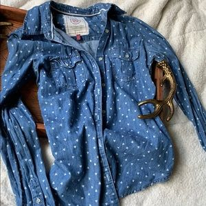 Authentic Lightweight Denim Hearts Button Up Small